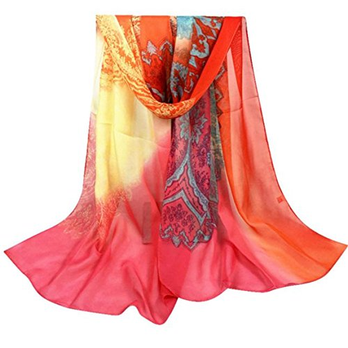 Longra Sciarpa chiffon scialle modo delle donne lungo morbida sciarpa dell'involucro (Rosso)