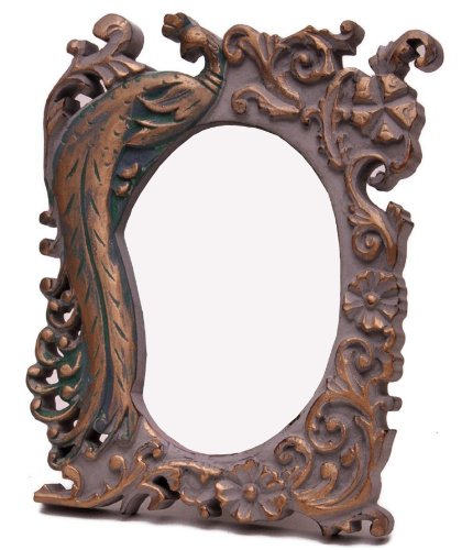 SouvNear Antique-look 5x7 Inch Standing Wood Picture Frame with Hand-Carved Peacock and Floral Motifs