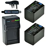 ChiliPower Sony NP-FV70 1900mAh Battery 2-Pack + Charger (UK Plug) for Sony DCR-SR68, SR88, SX45, SX65, SX83, SX85, FDR-AX100, HDR-CX110, CX130, CX150, CX160, CX190, CX220, CX230, CX260V, CX290, CX300, CX305, CX330, CX350V, CX360V, CX380, CX430V, CX560V,