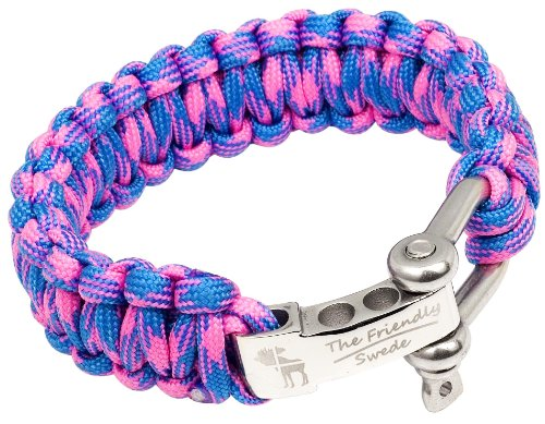 The Friendly Swede (TM) Premium Paracord Survival Bracelet With Stainless Steel Bow Shackle - Adjustable Size Fits 8-8.5 Inch Wrists - In Retail Packaging (Bright Pink + Sky Blue Camo)