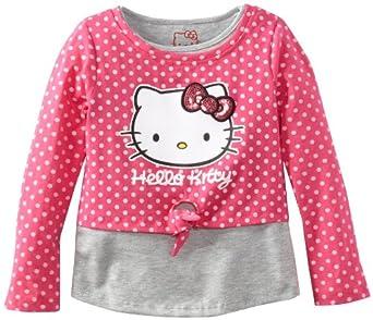 Hello Kitty Little Girls' Long Sleeve Top with Front Tie, Fuchsia Purple, 4