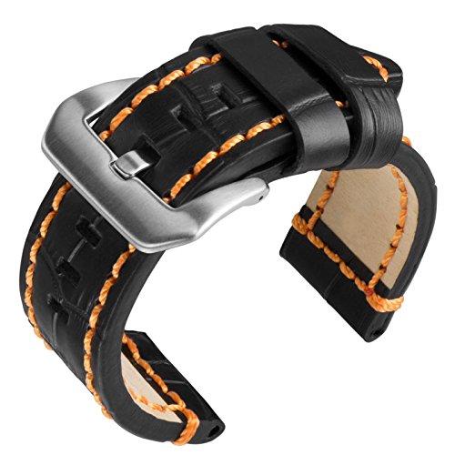 cinturino-orologio-geckotar-vera-pelle-per-i-grandi-orologi-nero-arancione-24mm