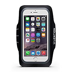LENTION Sport Armband for 4.9-inch to 5.7-inch Cell Phones Smartphone Adjustable Belt Case Running Band Waterproof Sweat-proof with Key Holder and Card Holder (Black with Gray)