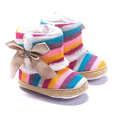 DZT1968® Baby Girl Rainbow Stripe Coral Fleece Snow Boots Shoes With Bowknot