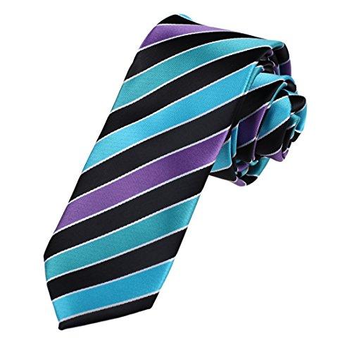 DAE7A19-21-Business-Groomsmen-Woven-Microfiber-Stripes-Skinny-Tie-By-Dan-Smith