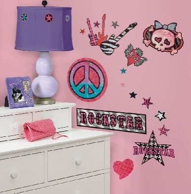 Rock 'N' Roll Girls Wall Stickers 34 Decals Guitar Skull Peace Sign Room Decor front-1028017