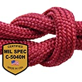 "Paracord - Guaranteed MilSpec C-5040H Compliant, Military Survival 550 Parachute Cord, 8-Strand, Type III. Made in US, 100% Nylon, 600+ Lb Break Strength, 1/8"" Diameter, EBook & Copy of MIL-C-5040H."