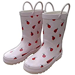 Foxfire for Kids Light Pink with LadyBugs and Flowers Rubber Boots size 5