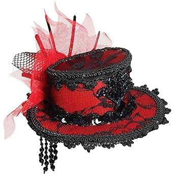 Forum Novelties Women's Costume Black Lace Mini Hat, Red/Black, One Size