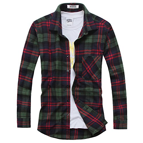 OCHENTA Men's Long Sleeve Plaid Flannel Shirt N024 Green Red UK Size L (Asian Size 3XL)