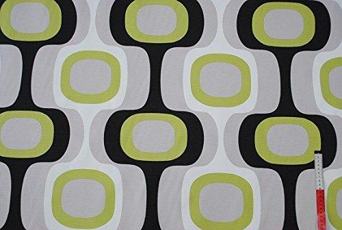 Belldessa 1 m * 1,4 m STOFF - Retro Muster - JACQUARD grün grau hellgrau bunt STOFFE 70 er / Möbelstoff / Bezugsstoff - Gardinen - grüner 80er Jahre Meterware