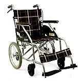 【即日出荷対応】介助式 アルミ軽量車椅子 ノーパンク座仕様 幅40cm黒チエック色 BA-01b…