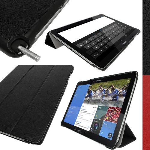 Igadgitz Premium Black Smart Cover Case For Samsung Galaxy Notepro 12.2 Sm-P905 + Auto Sleep/Wake + Multi-Angle Viewing Stand + Screen Protector