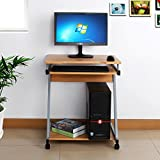 Songmics 60 x 48 x 73 cm Computer Desk Z-Shaped with Sliding Keyboard 4 Wheels PC Table Movable Portable Trolley Study Workstation Red Beech LCD811R