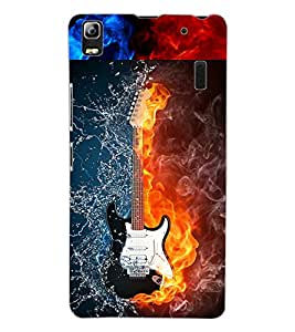 ColourCraft Water and Fire Guitar Design Back Case Cover for LENOVO A7000