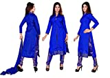 Salwar Suit Design Designer Womens Blue Chanderi Unstiched Dress Materials (kohinur2_blue_Free size)