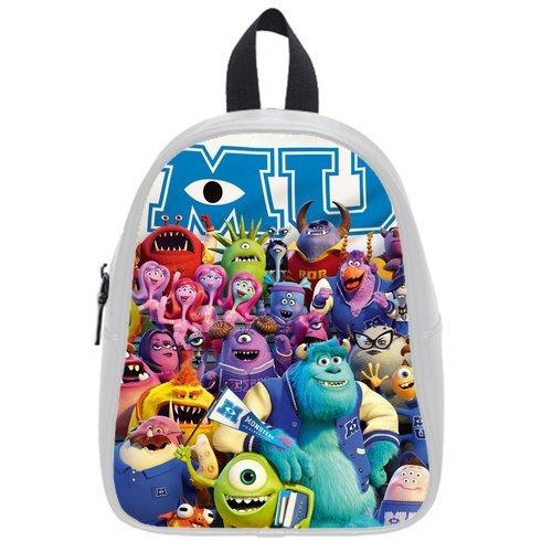 Generic Custom Cute Disney Monsters University Roles Printed White School Bag Backpack Fit Short Trip Pu Leather Large front-937060