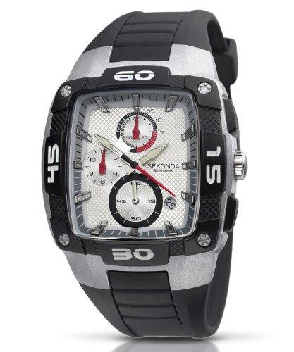 Sekonda Men's Chronograph Black Pu/Plastic Strap Watch 3058.27