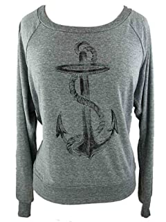 YogaColors Black Heart Tri-Blend Light Weight Raglan Pullover (Small, Athletic Grey Anchor)