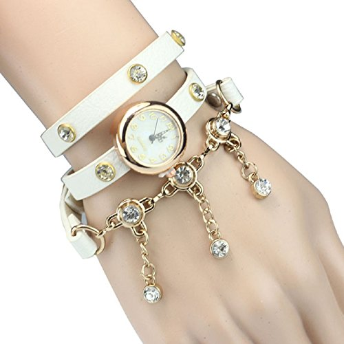 Tonsee(Tm) Fashion Women Bowknot Crystal Quartz Watch Imitation Leather Watch (Rivet#White)