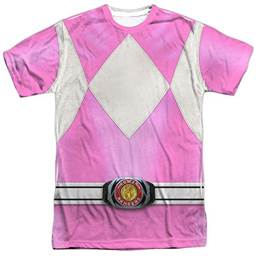 Power Rangers Children's Live Action TV Series Pink Costume Adult Front Print T