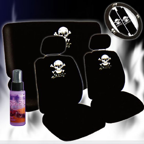 12 Pieces Universal Skull Design Car Seat Covers Set with Front and Rear Seat Covers, Steering Wheel Cover, Seat Belt Cover and 2 Ounce Purple Slice (Princess Car Steering Wheel Cover compare prices)