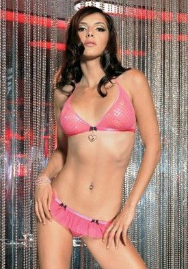 2PC Sparkle Faux Sequined Bra Sexy Lingerie Intimate Apparel with Heart Charm Rhinestone Bow and Ruffled G-String