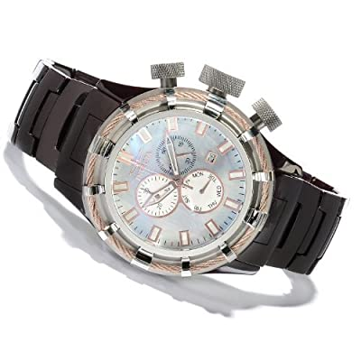 Mens Invicta 13846 Bolt Sport Swiss Day/Date Mother-of-Pearl Dial Brown Ceramic Bracelet Watch