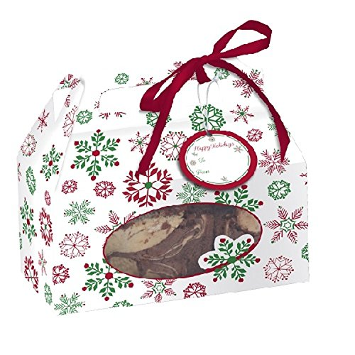 Christmas Snowflakes Cookie Box w/Handle 4 Per Pack