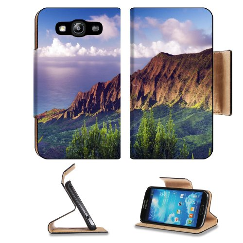 Hawaiian Islands Rolling Clouds Scenery Samsung Galaxy S3 I9300 Flip Cover Case With Card Holder Customized Made To Order Support Ready Premium Deluxe Pu Leather 5 Inch (132Mm) X 2 11/16 Inch (68Mm) X 9/16 Inch (14Mm) Luxlady S Iii S 3 Professional Cases front-563868
