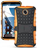 Heartly Flip Kick Stand Spider Hard Dual Rugged Armor Hybrid Bumper Back Case Cover For Motorola Google Nexus 6 4G LTE - Mobile Orange