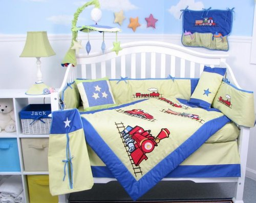 Choo Choo Train Baby Boy Crib Nursery Bedding Set 10 Pcs