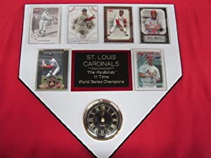 St Louis Cardinals World Champions 6 Card Collector HOME PLATE Clock Plaque EXCLUSIVE... by J & C Baseball Clubhouse