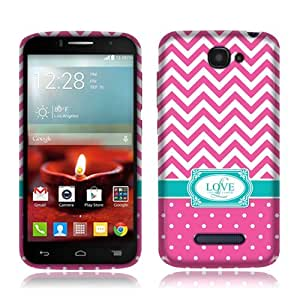 Nextkin Alcatel One Touch Fierce 2 7040T/ POP Icon A564C Silicone Skin Soft TPU Gel Protector Cover Case - Hot Pink Love Monogram
