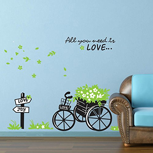 Alrens_DIY(TM)All You Need Is Love Flower Floral Bandwagon Tricycle DIY Eco-friendly PVC Vinyl Bedroom Wall Sticker Removable Home Decoration Creative Art Décor Kids Nursery Room adesivo de parede Mural Living Room Decorative Decal