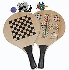 3-in-1 Beach Game Set - Paddle Ball, Chess and Parcheesi with Accessories