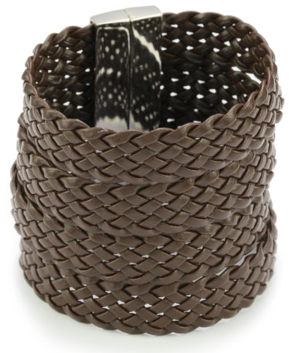 Accessories & Beyond Brown Flat Leather Strands Cuff