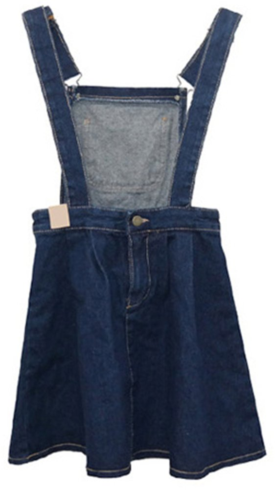 AnVei-Nao Womens Girls Retro Denim Jeans Slim Overalls Casual Ruffle Strap Dress 2