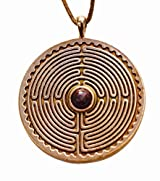 Labyrinth Peace Bronze Pendant Necklace with 6mm Dinosaur Bone Gemstone on Adjustable Natural Fiber Cord