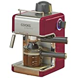 Kitchen - Cooks Professional Italian Espresso Cappuccino or Latte Coffee Machine - 800 Watts. (Red)