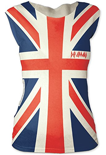 Juniors: Def Leppard- Union Jack Juniors (Slim) T-Shirt Size S (British Flag Tshirts compare prices)