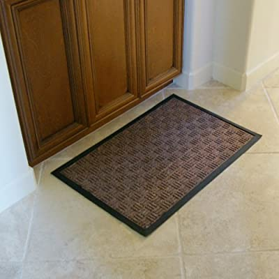 "Rubber-Cal ""Wellington"" Rubber Backed Carpet Mat - 3ft x 5ft Indoor Door Mats - Tan, Brown, Gray, Charcoal, Blue"
