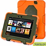 "New Hot Item High Quality Kindle Fire HD 7""Cover Case Slim Fit Silicone Plastic Dual Protective Back Cover Kid Proof Case Standing Case for Amazon Kindle Fire HD 7 Inch(will Only Fit Kindle Fire HD 7""Previous Generation)-multiple Color Options (Orange/Olive)"