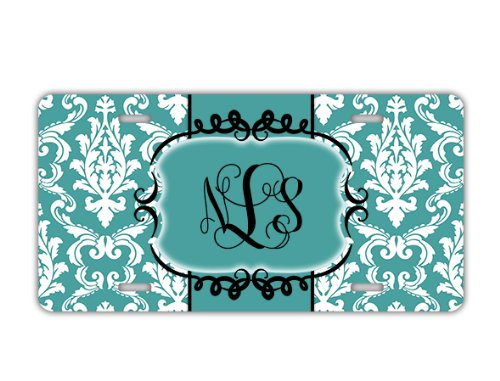 Personalized License Plate - Light Blue Damask With Initials - Monogram Front Car Tag front-1014977