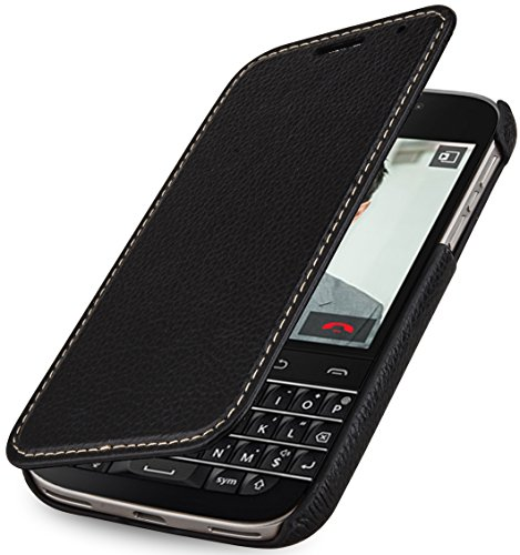 StilGut® Book Type Case senza clip, custodia in vera pelle con funzione on/off per BlackBerry Classic Q20, nero