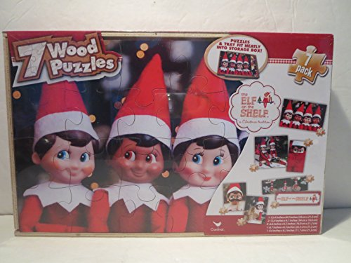 Elf on the Shelf - Seven Wooden Jigsaw Puzzles in Wooden Storage Box