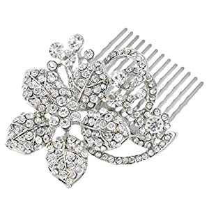 Ever Faith Vine Hibiscus Vine Wedding Hair Comb Clear Austrian Crystal Silver-Tone N03117-1