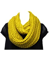 Super Soft Acrylic/Wool Chunky Knitted Circle Loop Scarf-Mustard Green