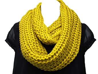 Super Soft Acrylic/Wool Chunky Knitted Circle Loop Scarf-Mustard