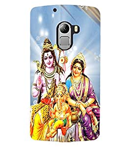 ColourCraft Lords Shiva Parvati and Ganesha Design Back Case Cover for LENOVO VIBE X3 LITE